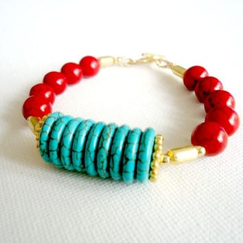 Turquoise Bracelet Gold Jewelry Red Bracelet Gemstone Jewellery Funky Chunky Unique Fashion Bold B-284
