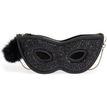 kate spade new york dress the part glitter mask clutch | Nordstrom