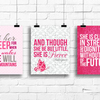 Let her sleep, and though she be but little, she is clothed in strenght, baby girl pink nursery, pink and grey nursery art, kids decor