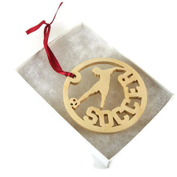 Soccer Player Kicking Soccer Ball Christmas Ornament Handmade from Birch Wood By KevsKrafts