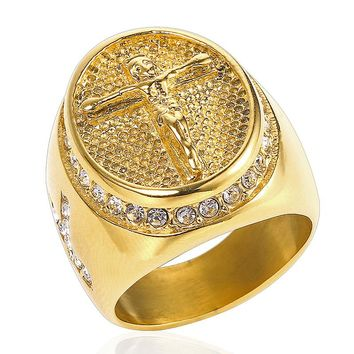 2018 US Size 7-15 Vintage Silver Gold color Holy Cross Signet Ring Prayer Christian Jesus Religious Cocktail Valentine