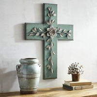 Floral Cross Wall Decor