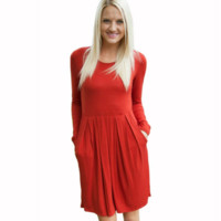 Slim Pleated dress With Pockets B0015542
