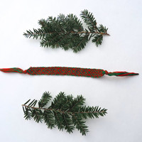Holiday Friendship Bracelet - Red and Green - Handmade