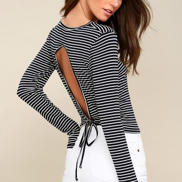 Jordanna Midnight Blue and White Striped Long Sleeve Top