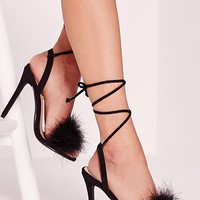 Missguided - Lace Up Feather Heeled Sandals Black