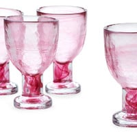 Marble Ink White-Wine Glasses, Pink, Set of 4, Wine Glasses