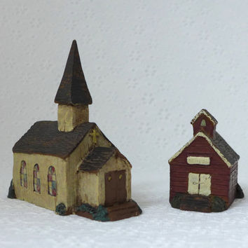 Miniature Buildings, Church with Steeple, Schoolhouse, Miniature Church, Mini School, Sarahs Attic, Made in USA, Small Buildings, Tiny Town