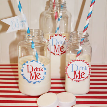 MILK BOTTLE Bottles with Lids and diy Chalkboard Labels, Plastic 8 oz... For Party Drinks or FIll with GUMBALLS for Party Favors, Set of 15