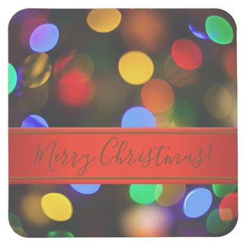 Multicolored Christmas lights. Add text or name. Square Paper Coaster