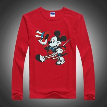 2016 New Spring Autumn Children Tees Fashion Mickey Cartoon Mouse Boys Long Sleeve T-shirt Kids Clothes Print Baby Girls Tshirts