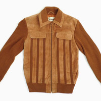 VTG Leather Knitted Sweater Jacket Leather  jacket 80s knit leather jacket Brown knit Sweater Camel suede jacket