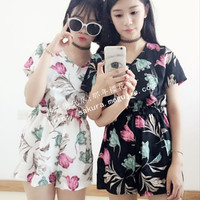 sakura. sweet flowers short-sleeved Rompers