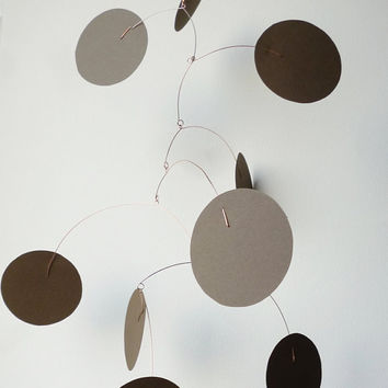 Hanging Art Mobile 9 circles Kinetic Sculpture