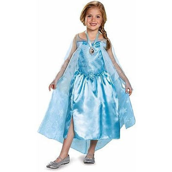 Disguise Girls Frozen Elsa Classic Child Halloween Costume w/ Locket 3T-4T