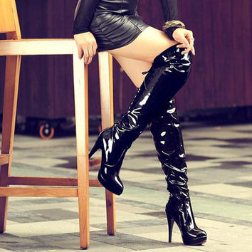Patent Leather Stiletto Heel Pole Dancing Tall Boots 2605
