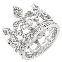 White Gold Bonded Silver Crown Style CZ Eternity Ring: Jewelry: Amazon.com