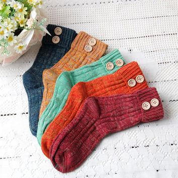 Jimshop 2016 1 Pairs Winter Socks Women Solid Color Knitted Cashmere Socks Fashion Socks Free Shipping
