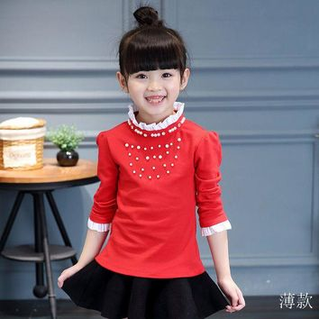 2-13Y Spring Autumn Girls T Shirt Long Sleeve Infantil Kids Clothes Cotton Tops Tee Casual Baby T-Shirt Cute Children Clothing