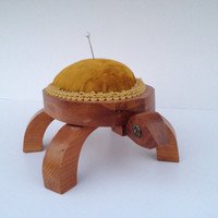 Wooden turtle pincushion vintage great gift idea for mom