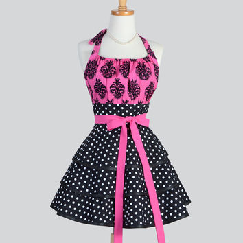 Flirty Chic Apron , Hot Pink Black Damask with Black White Polka Dots Apron Three Layer Skirt Cute Flirty Sexy Retro Womens Apron