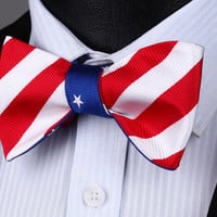 BE05B Blue Red White Stripe Double Side Bowtie Men Cotton Party Classic Wedding Self Bow Tie