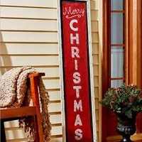 White Burlap Merry Christmas Porch Sign Distressed Wall Art Holiday Home Decor