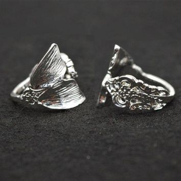CREYIJ6 New Color Silver Mermaid Ring Women Tiny Spoon Tail Ring  Index Thumb Ring Elegant RG57