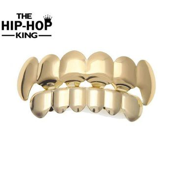 ESBONFI Hip Hop Gold Color Teeth Grillz Top & Bottom Grill Set For Halloween Christmas Party Vampire Teeth