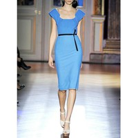 Elegant Short-sleeved Silk Blue Dress TFHS02L - Designer Shoes|Bqueenshoes.com