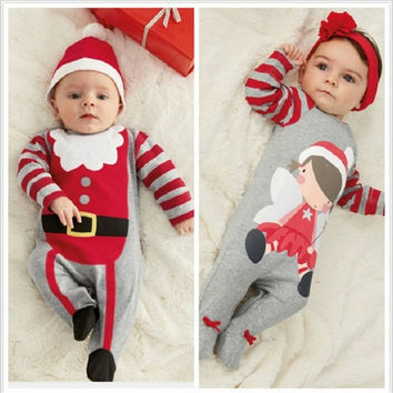 2015 NEW baby cotton rompers baby suits for boys&girls, Kids sleepsuit jumpsuits Christmas Lingerie stripe sleepsuit = 1929700420