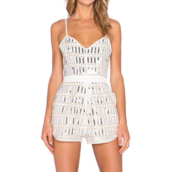 NBD Truth Romper in Silver Multi Sequin