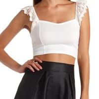 Lace Strap Textured Crop Top by Charlotte Russe - White