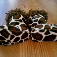 Giraffe Print Baby Boots Made With Fleece Faux Fur