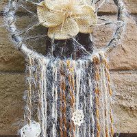 Dream catcher with burlap flower and roughed by TheLittleBigShop