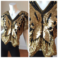 Vintage 1980s Butterfly Sequin Rocker Top // Vintage Disco Butterly Top in Black and Gold Sequins
