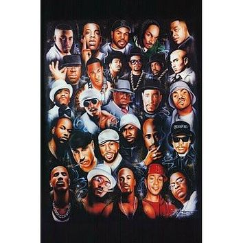 (24x36) Rap Legends (Rapper Collage) Music Poster Print by HSE