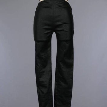Black Vegan Leather Detailed Waist Pants/Back Zipper Black Skinny Pants/Custom Women Faux  Leather Black Pants