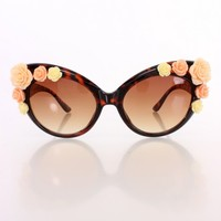 Brown Plastic Rose Trim Cute Tinted Cat Eye Sunglasses
