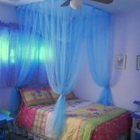 4 Poster / Four Corner Blue Bed Canopy Mosquito Net Full Queen King