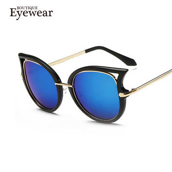 BOUTIQUE Cat eye sunglasses women brand designer gafas oculos de sol feminino metal sun glasses