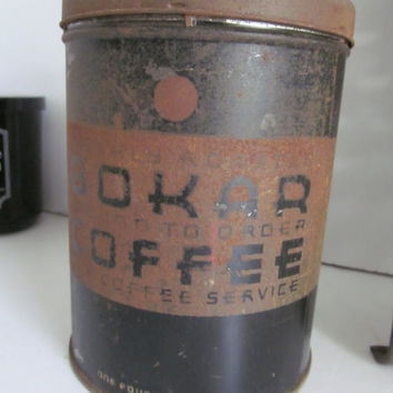 Antique Coffee Tin BOKAR Coffee Farmhouse Primitive Kitchen Rustic Kitchen Decor Rustic Kitchen Display Tins