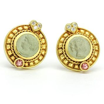 Judith Ripka Cameo Earrings with Diamonds and Pink Tourmaline in 18k Yellow Gold