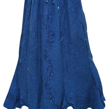 Peasant Skirts Sexy Women's Skirt Embroidered Rayon Flirty Blue