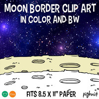 Moon Border Clip Art, Moon Clipart, Moon Clip Art, Moon Background, Moon Surface, Moon Scrapbook, Space Frame, School Moon, Moon Design
