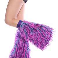 Clubstyle Monster Turquoise, Purple, and Pink Fluffies : Quality Fluffy Leg Warmers