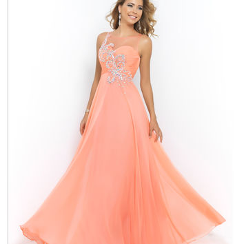 Coral Pink Sheer Neck & Back Rouched Sweetheart Beaded & Jeweled Chiffon Gown