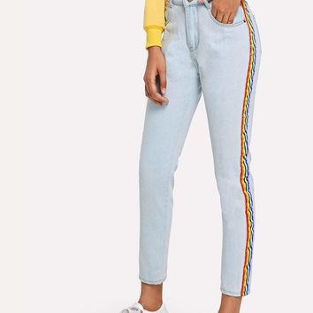 Contrast Rainbow Tape Side Jeans
