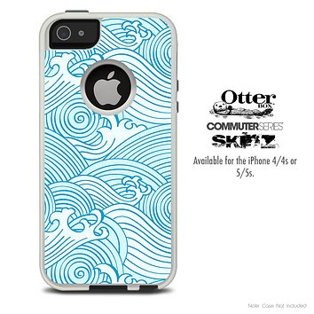 The Wavy Blue Abstract Swirls Skin For The iPhone 4-4s or 5-5s Otterbox Commuter Case