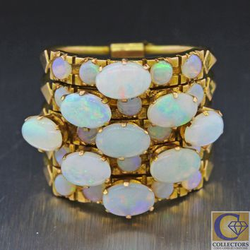 1880s Antique Victorian Estate 14k Solid Yellow Gold 3.85ct Opal Harem Band Ring